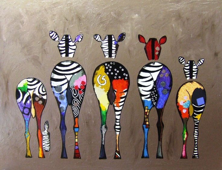 colorful zebra painting - Google Search