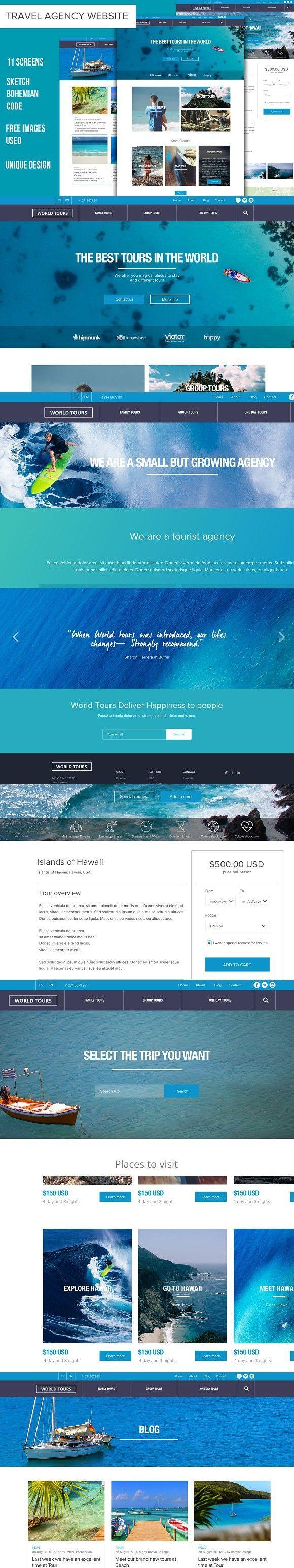 TravelAgency Sketch Website Template. Website Templates