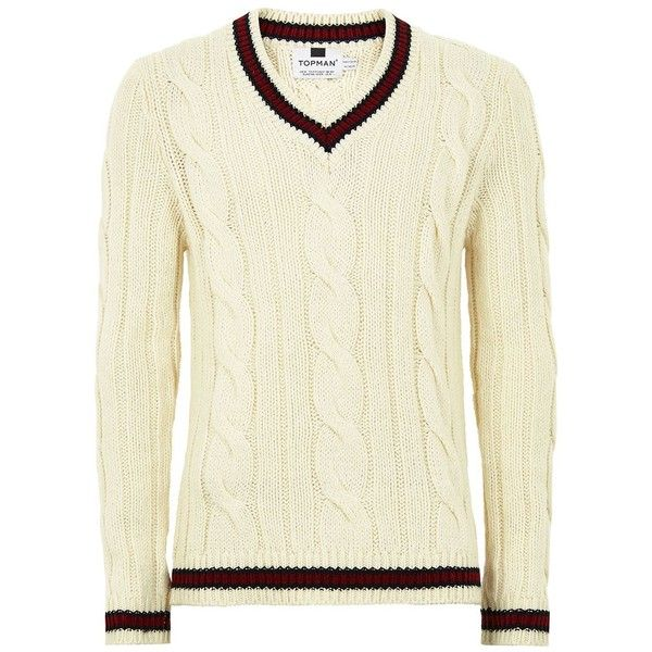 TOPMAN Cream Chunky Cricket Jumper (€42) ❤ liked on Polyvore featuring men's fashion, men's clothing, men's sweaters, cream, mens v neck sweater, mens slim fit v neck sweater, mens cricket sweater, mens chunky knit sweater and mens vneck sweater
