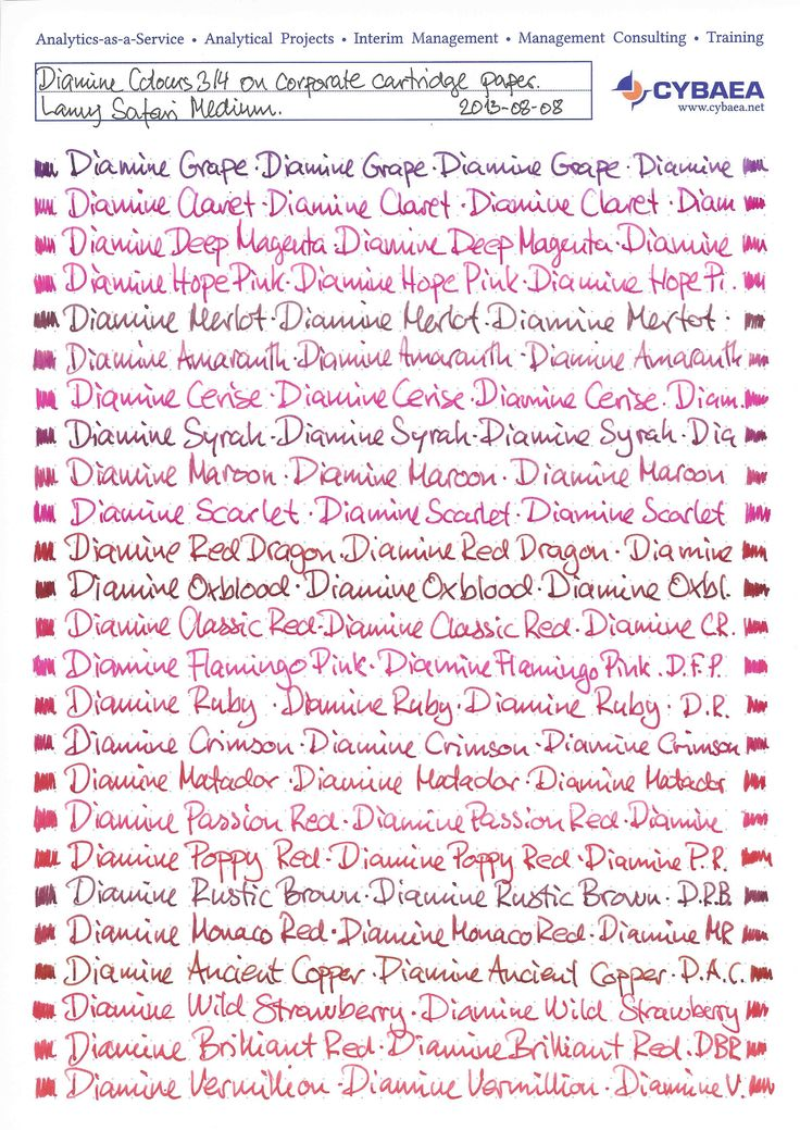 """Page 1 of 7 - All Diamine Inks Compared - posted in Ink Comparisons: There are currently (August 2013) one hundred colours available in the standard series from Diamine. Below I have written one line with each colour first on low-absorbent paper (Rhodia No 18 dotpad) and second on normal absorbent paper (our corporate printer's stock """"cartridge"""" paper). All lines are written with a medium Lamy Z50 nib on a Lamy Safari pen.  Apologies for the corporate branding: I do..."""