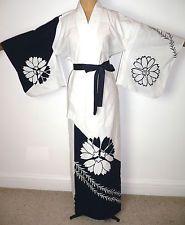 RARE VINTAGE JAPANESE COTTON ODORI DANCE YUKATA KIMONO DRESSING GOWN ROBE   £36.99 (1B)