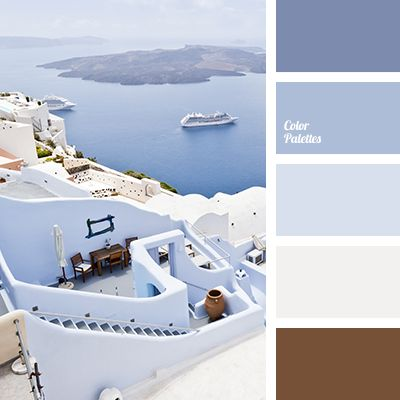 Blue Color Palettes, blue shades, brown, color matching for interior, color matxhing for designer, color palette for wedding, color palette of Greece, dirty white, gray, greece colors, light blue, pale blue, Santorini.