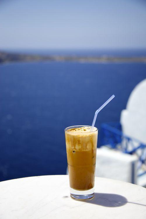 Greek Frappe in Santorini, Greece