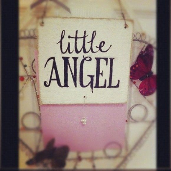 Hand made in UK! 'Little Angel' sign. What a cute present for a little one. http://www.madecloser.co.uk/christmas/gifts-signs-plaques/little-angel-homemade-sign