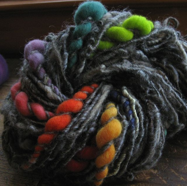rainbow puffs. love the dark grey with the pops of color. so pretty!