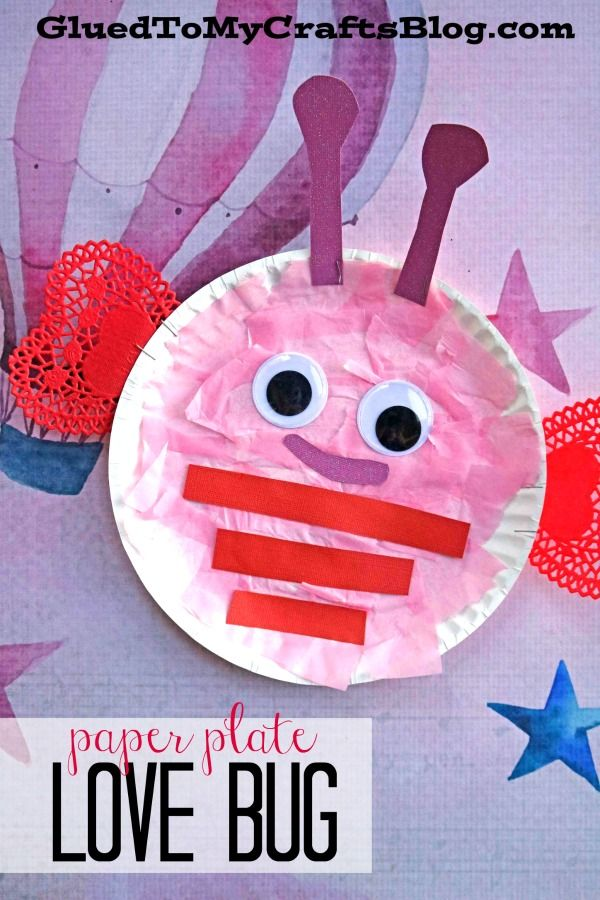 Paper Plate Valentine Love Bug - Kid Craft #kidcrafts #valentinesday #lovebug #gluedtomycrafts