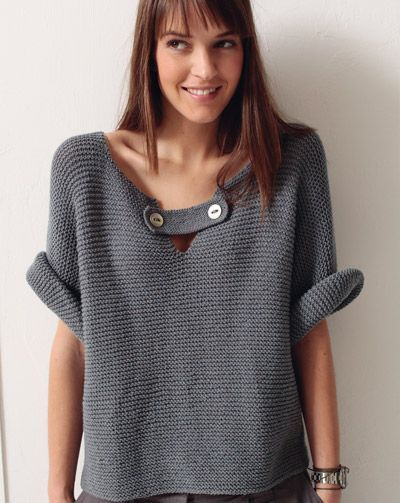 Pull manches courtes point mousse