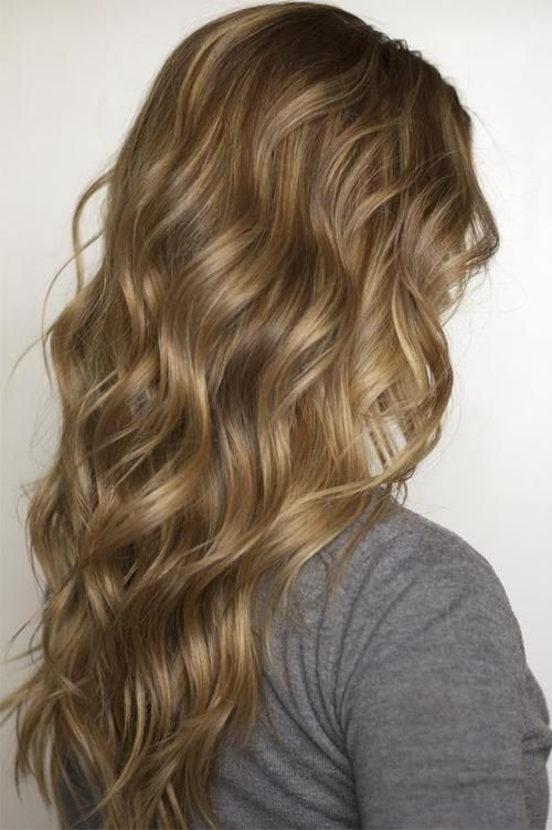 Wavy hair, all down.