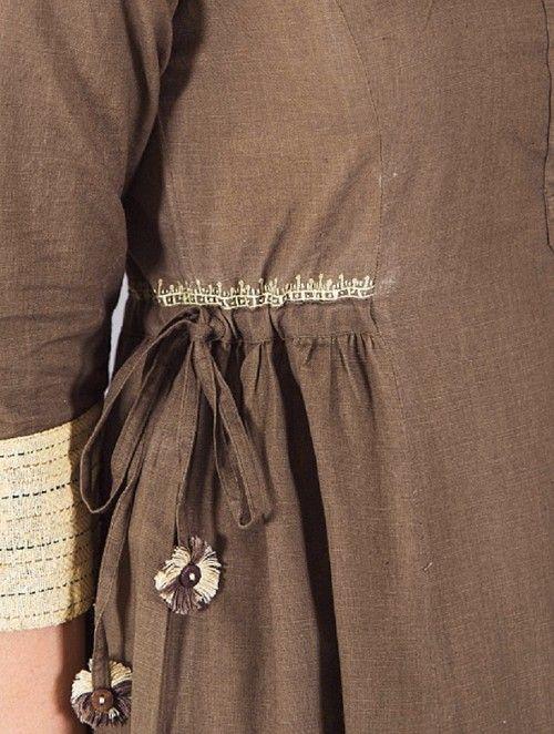 Brown-Yellow Handwoven Khadi Dress