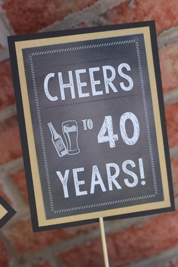 Chalkboard 40th Birthday centerpiece  Set by CharmingTouchParties25  best Masculine centerpieces ideas on Pinterest   Masculine  . Diy Centerpieces For 40th Birthday Party. Home Design Ideas