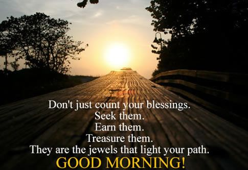 Don't just count your blessings seek them. Earn them. Treasure them. They are jewels that light your path.  Good Morning!