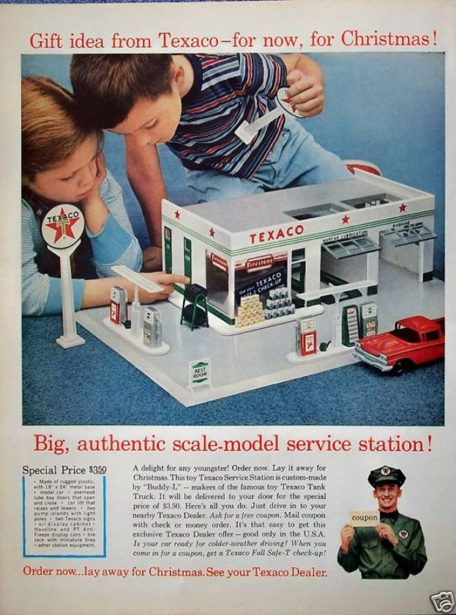 Texaco Toy Service Station - 1960. How toys have changed over the years. Somehow I think yesterday's toys did more to develop our imaginations and creativity.