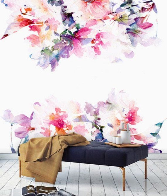 spring floral large wall mural watercolor nursery wallpaperspring floral large wall mural watercolor nursery wallpaper