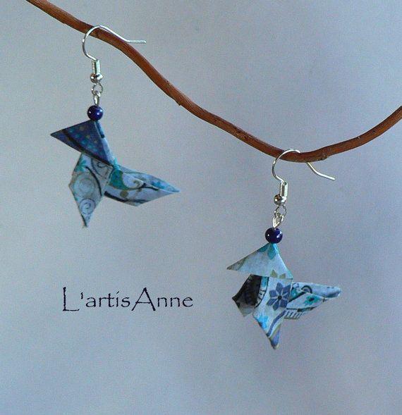 Boucles d'oreilles Origami Cocottes Liberty par Cocottesetliberty