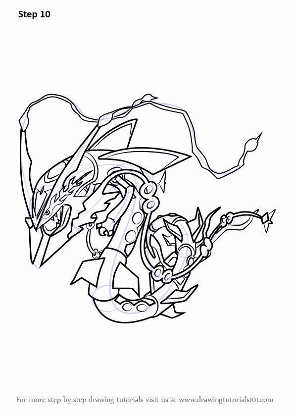 Mega Rayquaza Coloring Page Beautiful Step By Step How To Draw