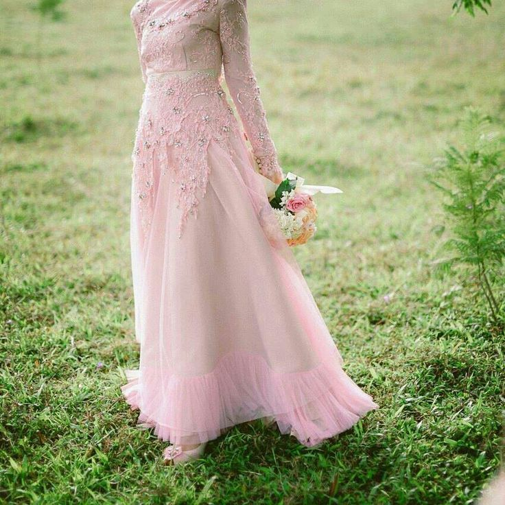 Pink lace and cream color wedding dress