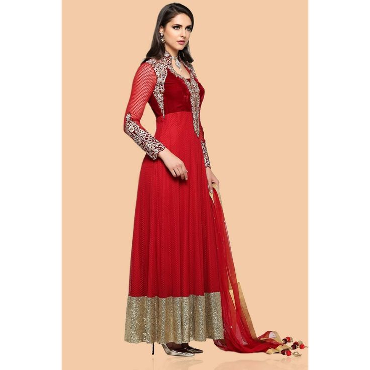 Buy latest, Anarkali churidar net cheap asian suits, Maroon resham embroidered andaaz wedding wear