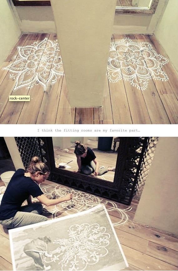 stencil on hardwood floor.