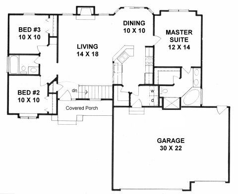 Plan 1224 3 bedroom ranch with walk in pantry and 3 car for 3 car garage ranch house plans