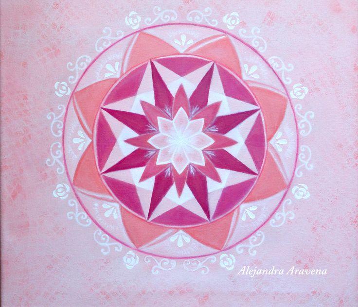 Mandala monocromía rosa, acrílico y dimensional, bastidor 40 x 40 cm. Autor: Alejandra Aravena