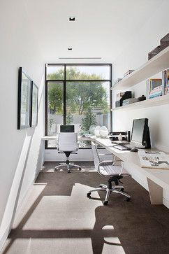 Loving The All White Colour Scheme For A Home Office. ~ Lorey New Home    Brighton   Contemporary   Home Office   Melbourne   Darren Comber