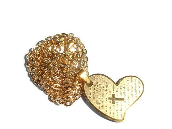 Cross Heart Our Father In Spanish Necklace Elegant Gold Cross
