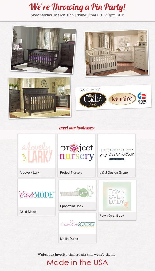 Project Nursery - Made in the USA Pin Party Join us for a Made in the USA Pin Party on Pinterest on Wednesday, March 19th at 6pm PDT/9pm EDT. This event will have you seeing red, white and blue!: Kid S Spaces, Party Join, Pin Party, Decorating Ideas, Nursery Inspiration, 6Pm Pdt 9Pm, Pdt 9Pm Edt
