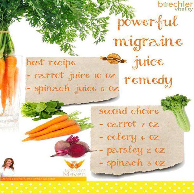 Powerful Migrane Juice Remedy ❥➥❥ 10 oz Carrot juice, 6 oz Spinach juice