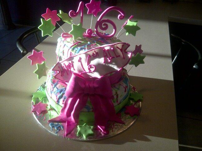 Sweet 16 birthday cake I made