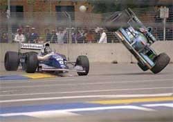 Schumacher (right) and Hill (left) crash at the Flinders Street corner during 1994 Australian Grand Prix.