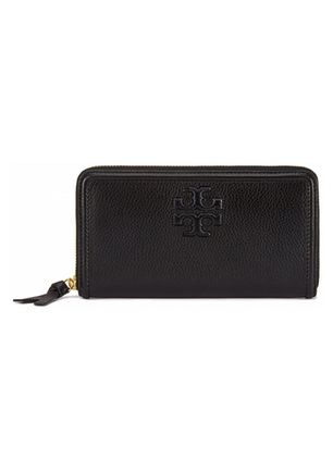 Tory Burch Thea Multi-Guesset Zip Continental Wallet-Black