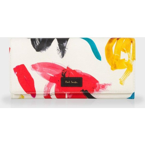 Paul Smith Women's White 'Painterly Floral' Print Tri-Fold Purse ($410) ❤ liked on Polyvore featuring bags, painterly floral, white bags, floral print bag, paul smith bag, paul smith and floral bag