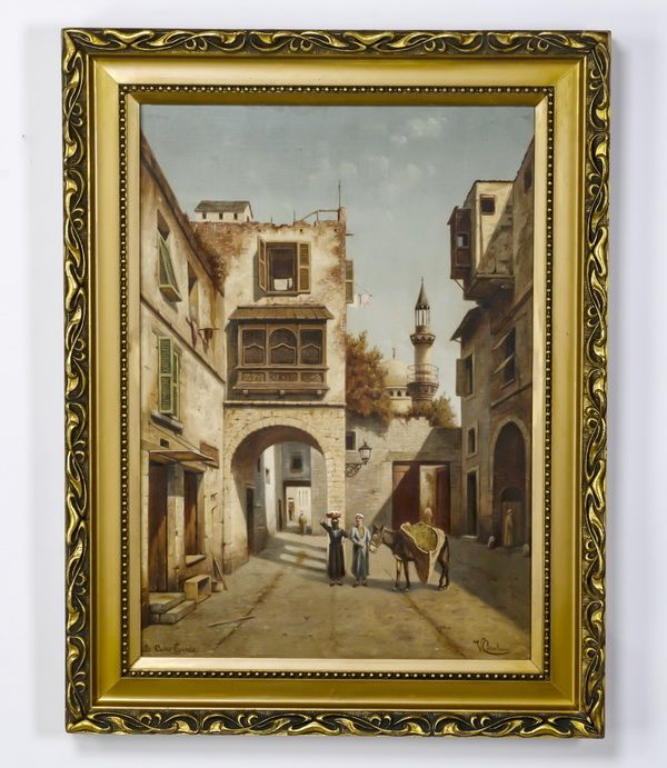 """Victor Carabain (Belgian, 1863-1942), oil on canvas titled 'Le Caire, Egypte,' depicting an Orientalist street scene in Cairo with figures and a donkey, artist signed 'V. Carabain' at lower right, inscribed with title 'Le Caire, Egypte' at lower left, and inscribed 'Vue au Caire Egypte. Charier El Souk / Par V Carabain.' to stretcher en verso, 30""""h x 21.5""""w, overall dimensions including frame, 37""""h x 28.5""""w x 1.5""""d."""