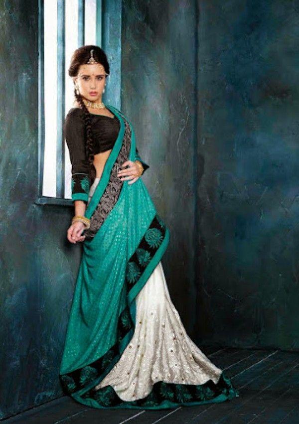 White and sea green lehenga saree along with black blouse