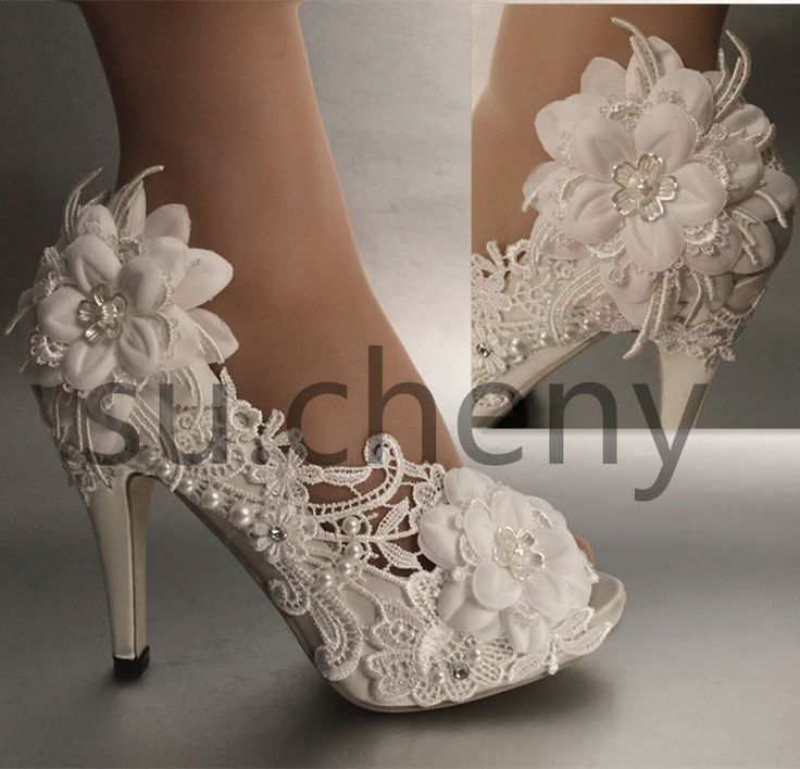 "3 / 4""  heel pearl white ivory silk lace open toe Wedding shoes size 5-9.5"