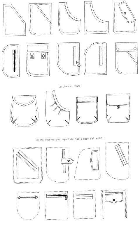 Технические рисунки карманов – 10 фотографий