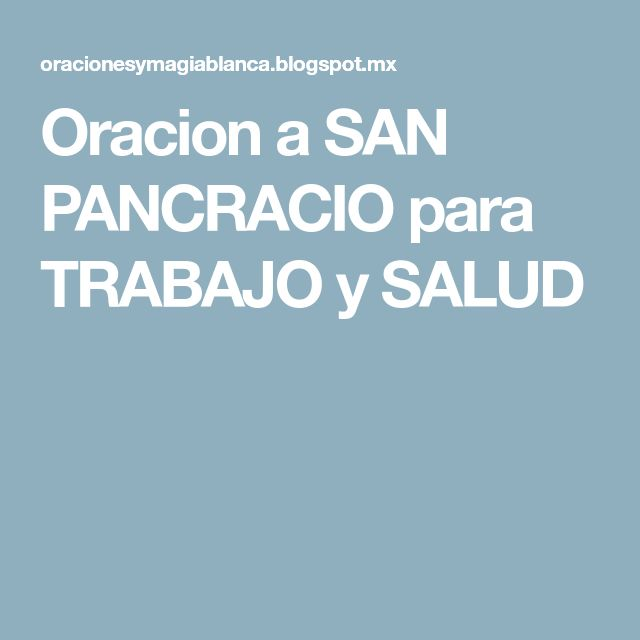 Oracion a SAN PANCRACIO para TRABAJO y SALUD
