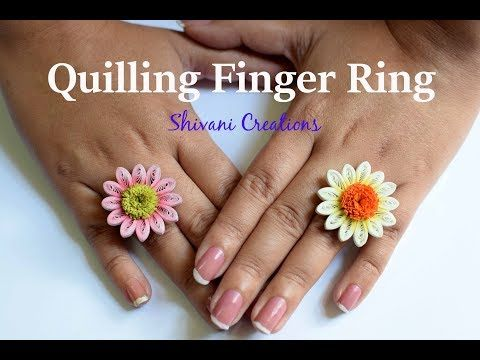 Quilling Flower Finger Ring/ Quilled Gerbera Flower/ Quilling Jewellery - YouTube