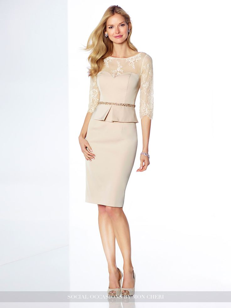 Polished crepe knee-length sheath with illusion scalloped lace three-quarter length sleeves, illusion lace bateau neckline and back, sweetheart peplum bodice with hand-beaded natural waist, center back slit. Sizes: 4 – 20 Colors: Champagne, Royal Blue
