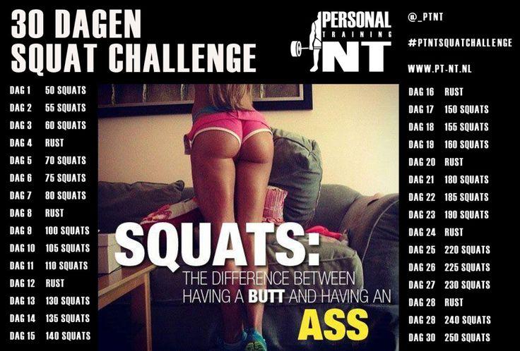 Doe jij mee aan de 30 dagen Squat Challenge? Squat voor mooiere strakkere billen maar val ook af met deze geweldige oefening! Daag jezelf uit en doe mee!