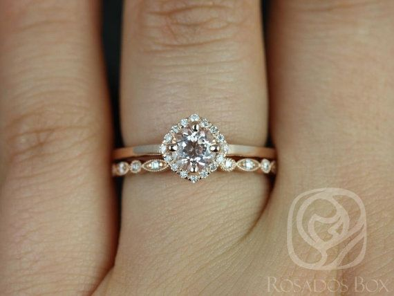 Kyla 5mm & Ultra Petite Bead Eye 14kt Morganite and Diamond Cushion Halo Wedding Set (Other metals and stone options available)