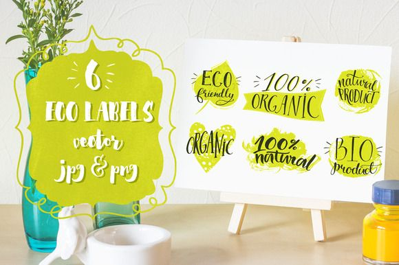 Eco labels with hand lettering by anna.kutukova on Creative Market