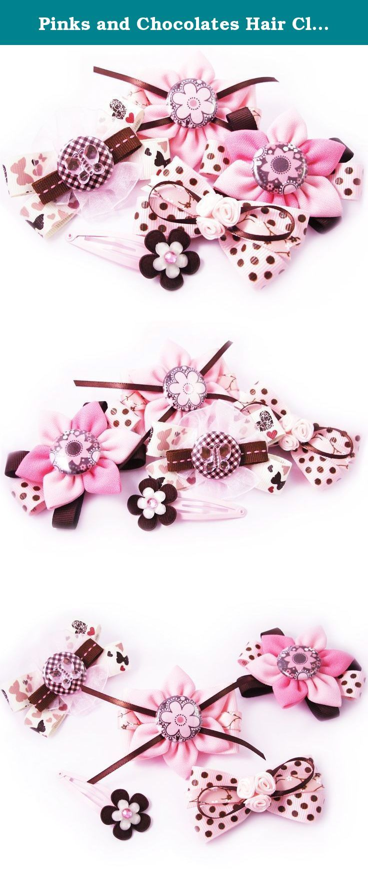 Pinks and Chocolates Hair Clip Set. Coordinate outfits with these adorable hair clips! Perfect for kids, teens and adults.