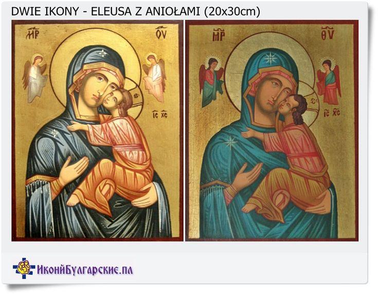 Przedstawiam poniżej ikonę M.B. Miłującej która została wykonana w dwóch różnych wariantach kolorystycznych. Motyw ikony pozostał nie zmieniony. Autor zmienił tylko kolorystykę sukienek matki Boskiej i Aniołów.