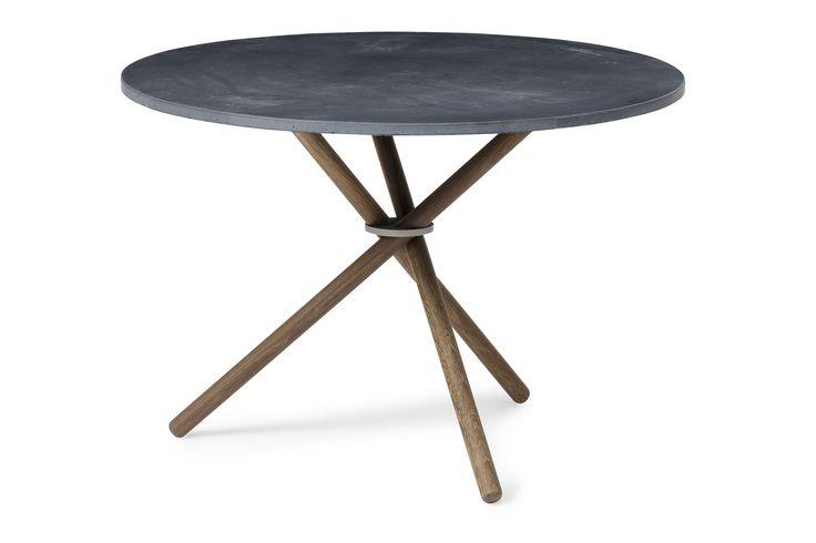 Paustian EH Coffee Table - EH2  Anthriacite colored concrete table top, fumed oak legs and glass blasted steel ring. #coffeetable #table #concrete #concretetable #steel #oak #oaklegs #eberhartfurniture
