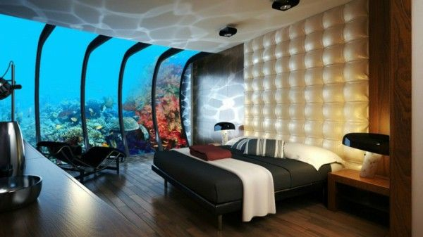 Strange bedroom bed under water fish