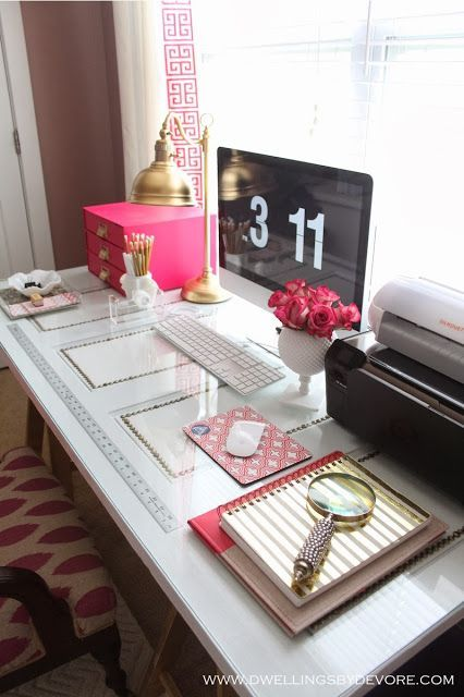 Pink, white and gold office space.