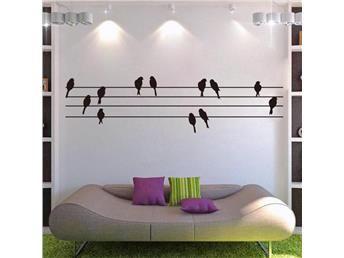 Fåglar På Tråd Väggmotiv - Väggdekal- Väggdekor.