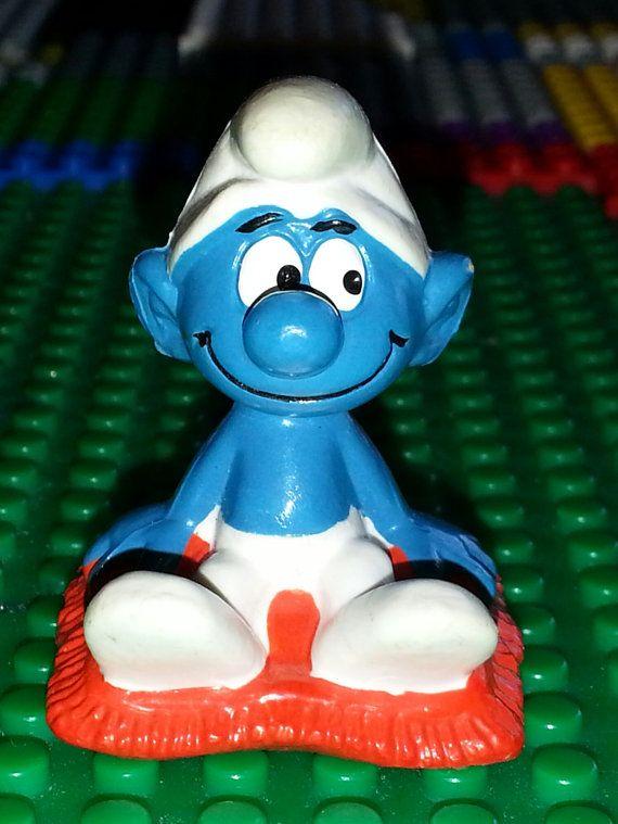 Vintage SMURF toy Figurine sitting on Pillow. by AlphachicsEDEN, $10.00