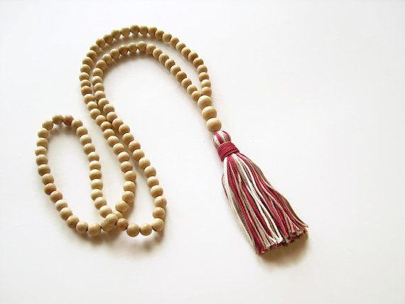 White wood long necklace with multicolored tassel by Aella Jewelry